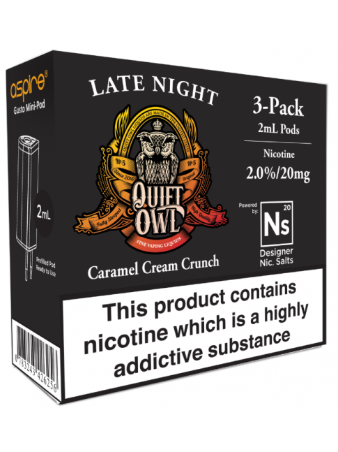 Kjøp Quiet Owl Late Night - Aspire Gusto Mini NS20 Pod E-væske