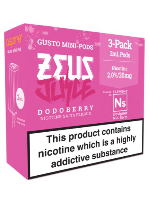 Kjøp Zeus Juice Dodoberry - Aspire Gusto Mini NS20 Pod E-væske