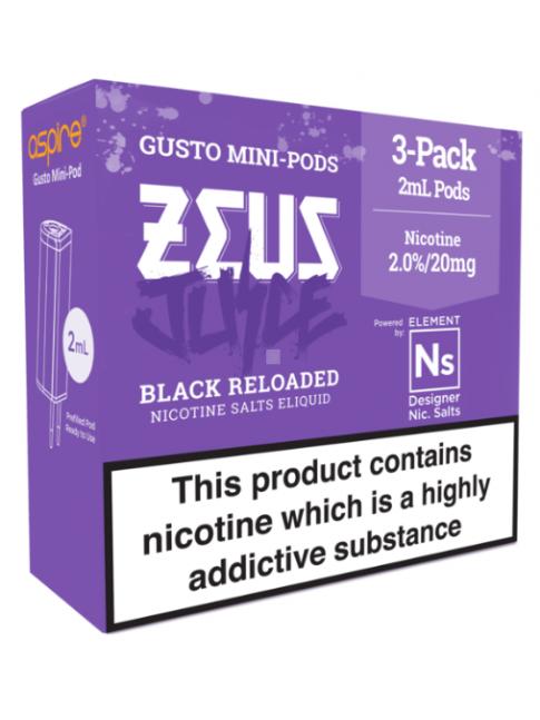 Kjøp Zeus Juice Black Reloaded - Aspire Gusto Mini NS20 Pod