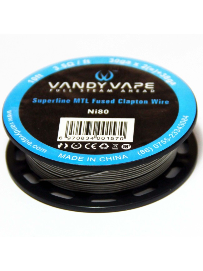 Buy Vandy Vape Superfine MTL Fused Clapton Ni80 Wire in our